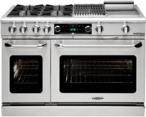 48 Inch Pro-Style Dual Fuel Range with 4 Open Burners