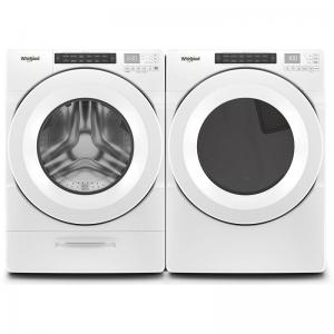 """Front Load Steam WFW5620HW 27"""" Washer with WED5620HW 27"""" Electric Dryer Laundry Pair in White"""
